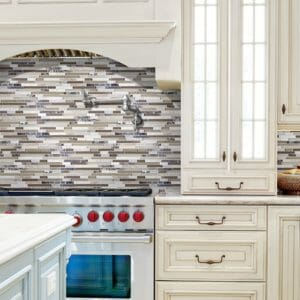 Bliss Glass Stone Blend Cappuccino Linear Mosaic Backsplash