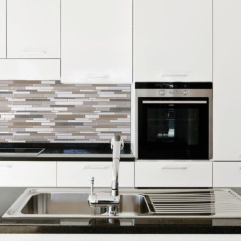 Bliss Glass Stone Twilight Mist Stainless Blend Backsplash