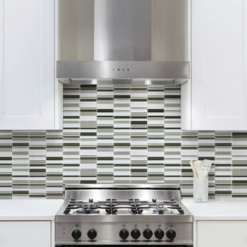 Element Glass Mineral Blend Random Strip Mosaic Backsplash