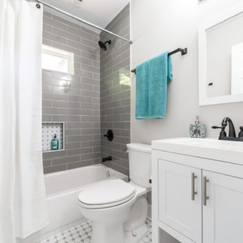 Soho Taupe Shower and Octagon White With Light Grey Dot Floor Bathroom